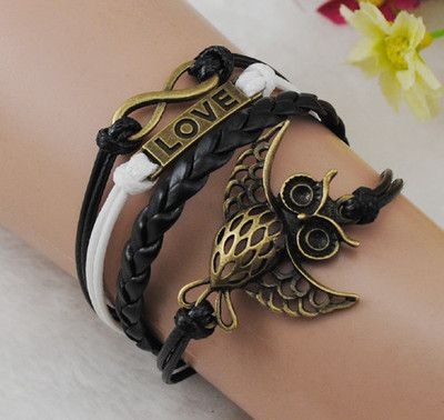 Infinity Owl Love Antique Bronze wax cord Leather Cute Bracelet B165 -