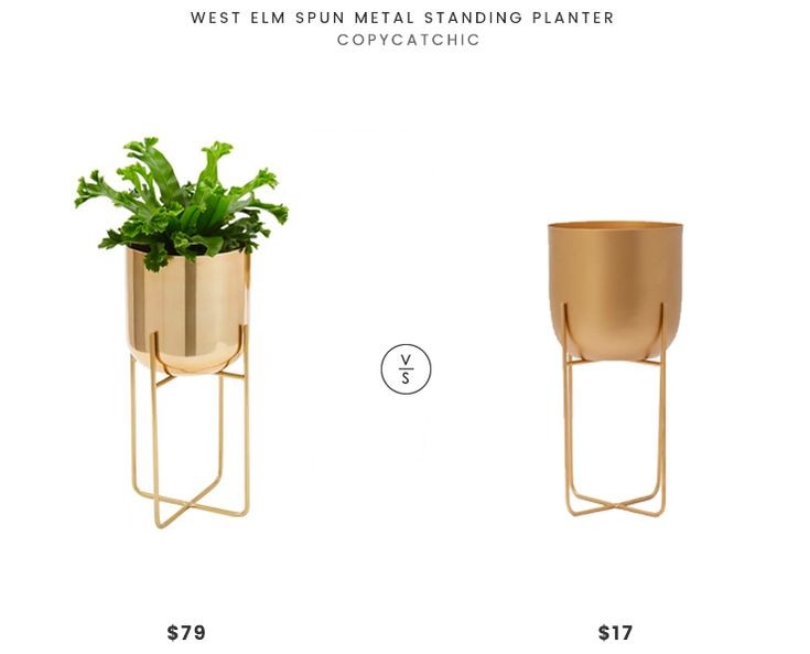 West Elm Spun Metal Standing Planter $79 vs Structube SOL Metal Pot $17 spun brass planter look for less copycatchic luxe living for less budget home decor and design daily finds
