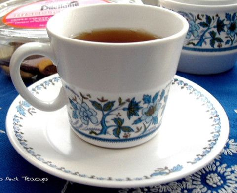 Cup And Saucer Noritake 1970s Blue Moon Progression Porcelain Blue And White Jacobean