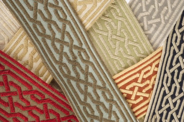 "Displaying an intricate geometric border design, Dunhill from Stroheim's A La Mode Trimmings collection is a 2 ¼"" tape that adds rustic elegance to any room."