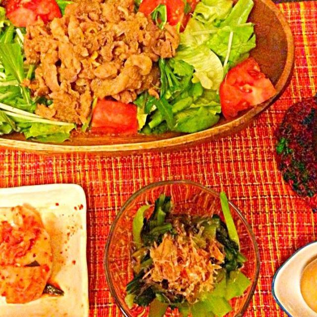 たまにはお肉 - 16件のもぐもぐ - 生姜焼き、小松菜おひたし、煮卵 by さゆちゃん