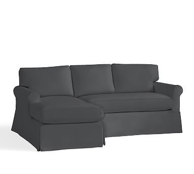 York Roll Arm Right Sofa with Chaise Sectional Slipcover, Premium Performance Basketweave Charcoal