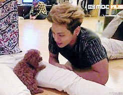 Jonghyun with Key's dog.