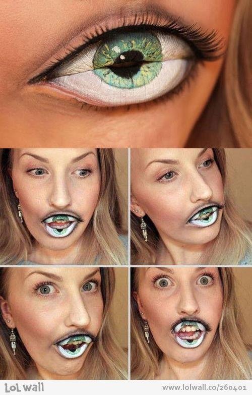 Ilusi optik yang digambarkan pada bibir yang menyesuaikan bentuk mata..sangat menarik.  sumber : Hungry Eye Optical Illusion from   www.lolwall.co