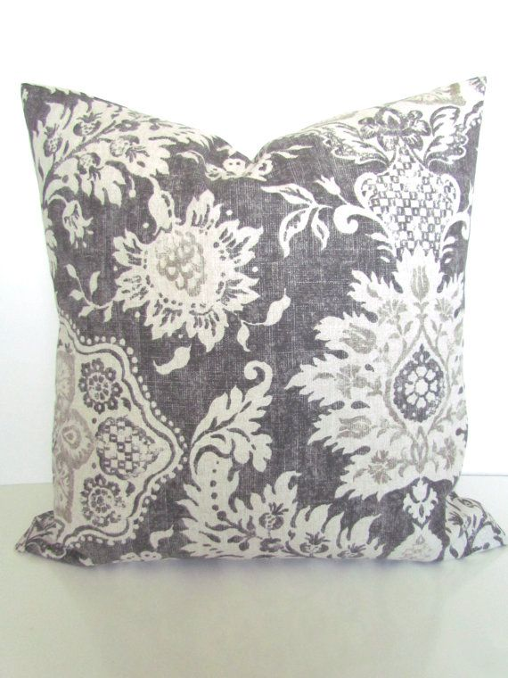 GET A WHOLE NEW LOOK JUST BY USING PILLOW COVERS! THE PILLOW COVERS CAN GO OVER A PILLOW INSERT OR YOUR EXISTING PILLOWS!  Add a FRESH NEW DESIGNER LOOK to any room with this pillow cover made for any size of pillow. It features a gorgeous Circular pattern in a dark gray, light gray and Tan on a off white background. It is made up of 100% decorator weight woven cotton fabric.  * * * THIS LISTING IS FOR ONE PILLOW COVER. * * * The pillow insert is NOT included and can be purchased at Joann…