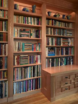 """This home office was built in an old Victorian in Alameda for a couple, each with his own workstation. A hidden bookcase-door was designed as a """"secret"""" entrance to an adjacent room. The office contained several printer cabinets, media cabinets, drawers for an extensive CD/DVD collection and room for copious files. The clients wanted to display their arts and crafts pottery collection and a lit space was provided on the upper shelves for this purpose. #homedecor #office #design"""