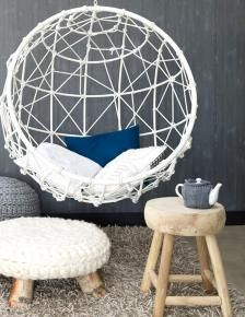 Hanging chair and knitted stools