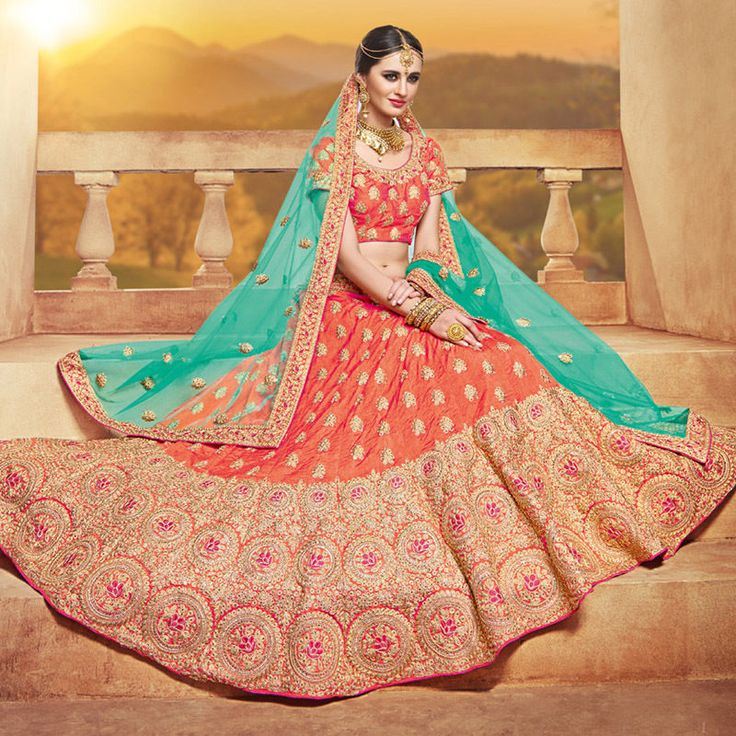 The lehenga made in silk with thread embroidery. with designer blouse and dupatta. if you need stitching service or else we send unstitched. | eBay!