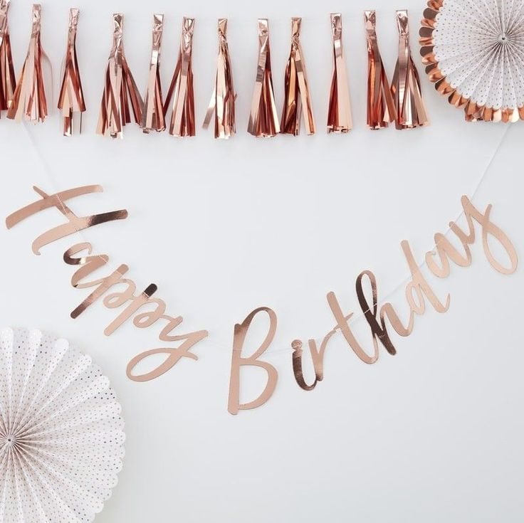 Hang this gorgeous rose gold foiled Happy Birthday bunting at your next birthday party as super trendy decoration or photo backdrop Hang from walls