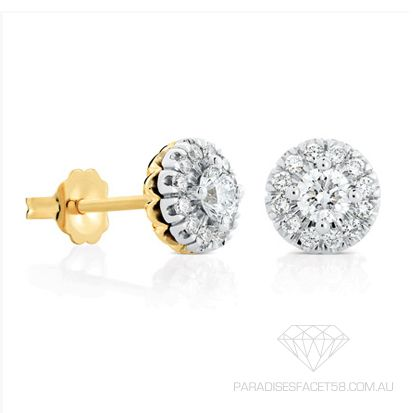 Saachi 'Mahina' Diamond Stud Earrings    www.paradisesfacet58.com.au  These 'Saachi' 'Mahina' halo earrings are set with the focus on the magnificent Brilliant Cut Diamond surrounded by smaller Round Diamonds to radiate romance and brilliance