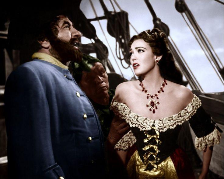 Robert Newton and Linda Darnell in Blackbeard, the Pirate (1952)