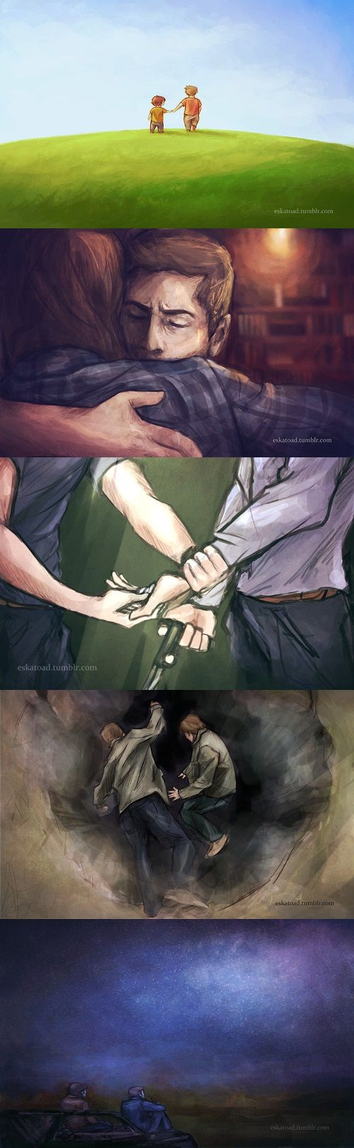 ♪We were opposites at birth. I was steady as a hammer and no one worried cause they knew just where I'd be, but they said you were the crooked kind and you'd never have no worth, but you were always gold to me♪ | Sam and Dean | Brotherly Feels | Supernatural Fan Art by eskatoad [Always Gold - Radical Face]