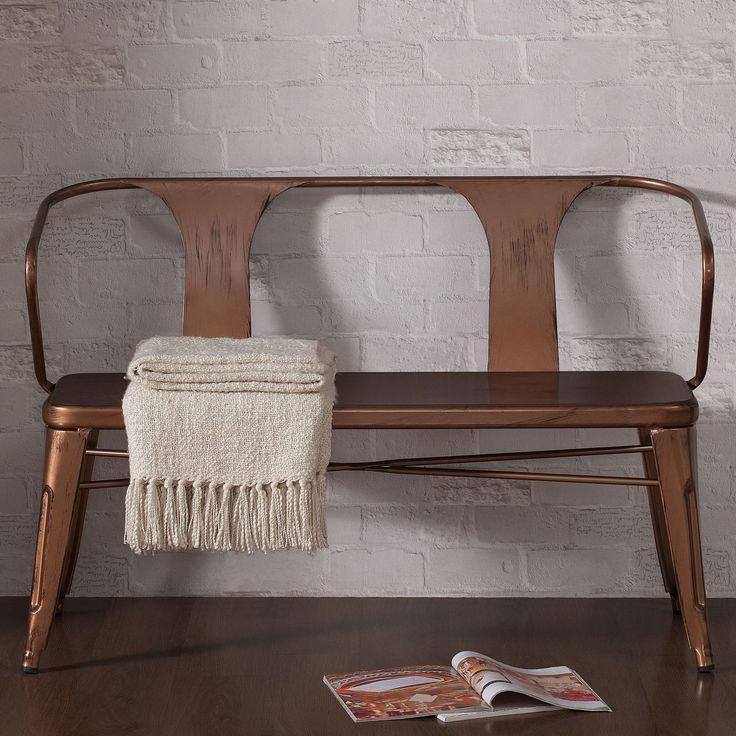 Tabouret Brushed Copper (Brown) Metal Bench