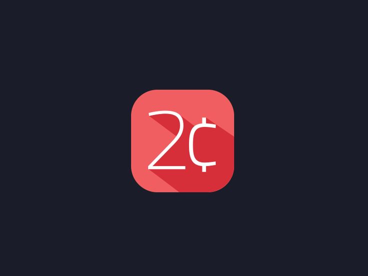 '2 Cents' flat app icon and logo design by Aditya Chhatrala