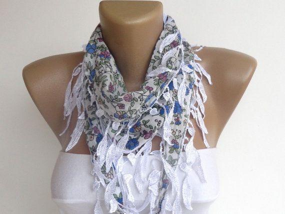floral cotton leaf scarf  leaf lace scarfspring by scarvesCHIC, $8.50
