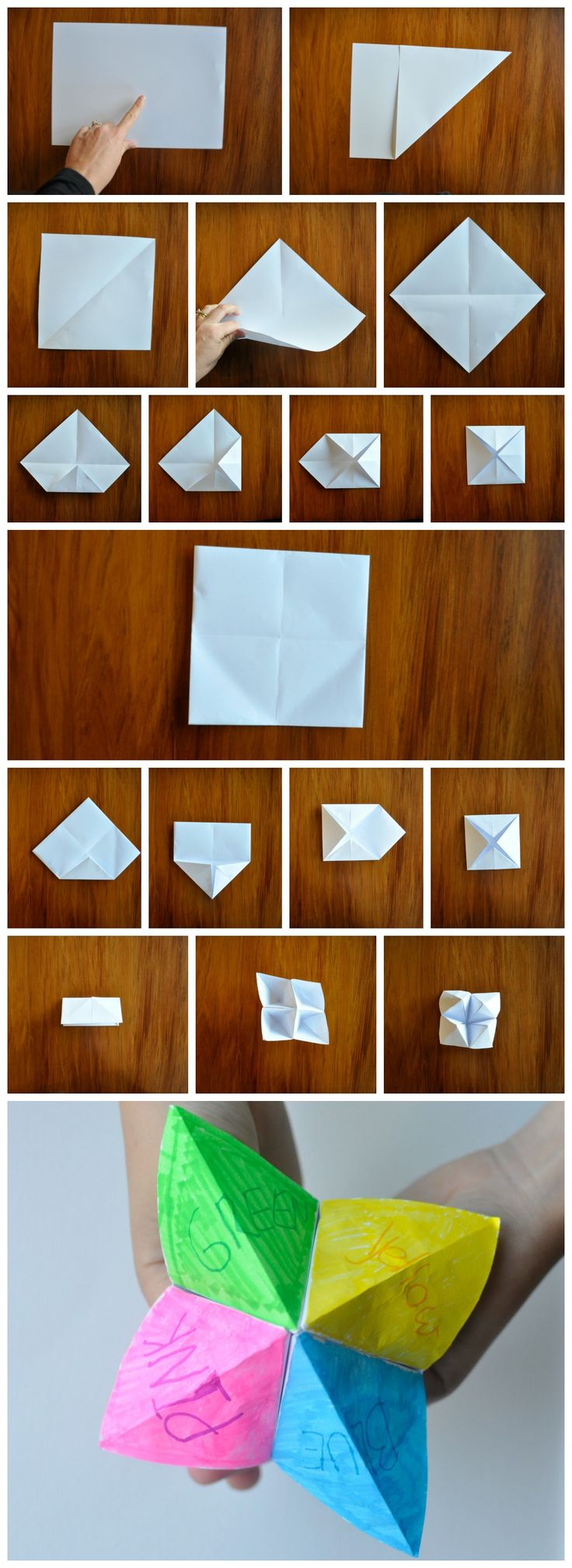 How to make a Chatterbox - Such a classic game. You can make it into a tool for many things, including birthday party games, travel, sight words, drama - heaps of ideas!