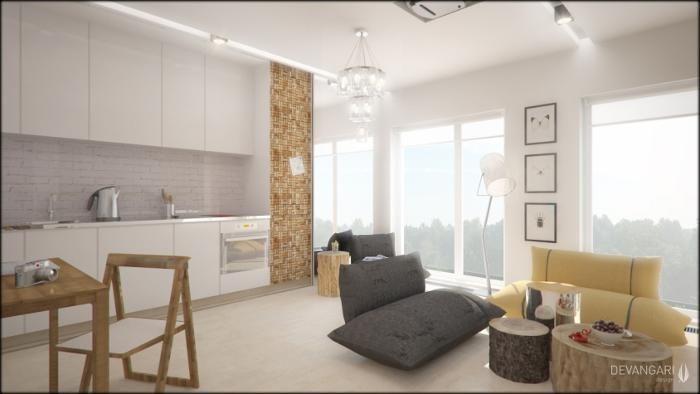 Aranżacja salonu z kuchnią wystrój skandynawski w kolorach biel, brąz, szary,   -> Aranżacja Salonu Z Kuchnią W Bloku