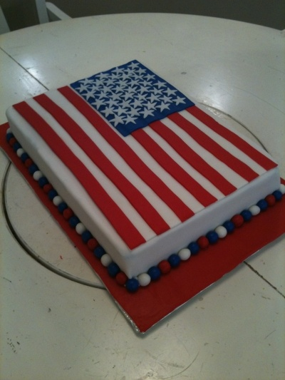 I think this is my next project :)  American Flag Cake By Cowcakes on CakeCentral.com