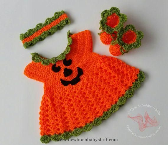 Crochet Baby Dress Baby Halloween Costume, Girl Pumpkin costume, Baby Jack-O&#3...