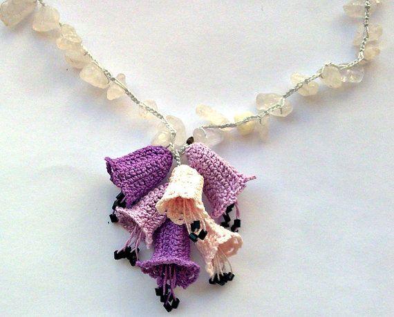 Lavender Pink Bell flower, Crochet Necklace, Crochet Jewelry