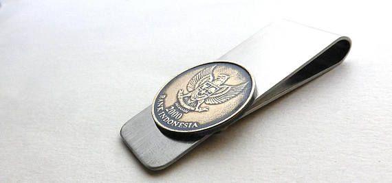 Indonesian coin money clip 2000 Men's gift Men's