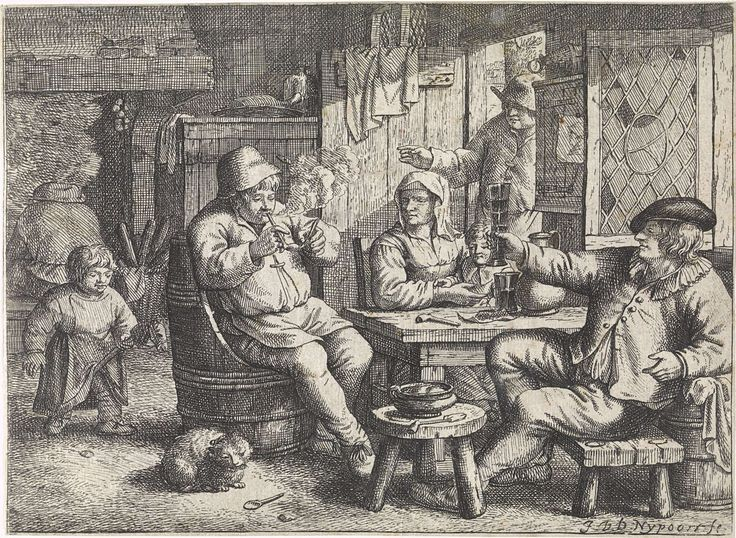 Justus van den Nijpoort | Boereninterieur met een jongen op een stokpaard, Justus van den Nijpoort, 1635 - 1692 | In een interieur zitten een man met een glas in de hand, een man die zijn pijp aansteekt en een vrouw met een kind op haar schoot om een tafel. Links speelt een jongen met een stokpaard. Rechts in de deuropening komt een man de kamer binnen. Op de vloer ligt een kat.