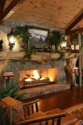 Rustic fireplace and living area