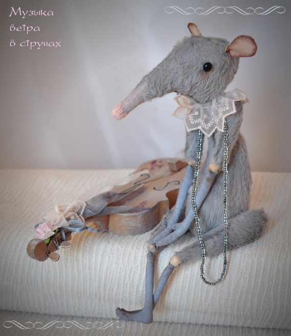 Rat Toy Viscose Plush Toy Handmade Stuffed Blue Grey by JuliaBerg, $170.00