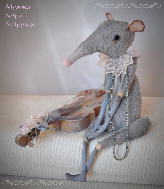 Rat Toy Viscose Plush Toy Handmade Stuffed Blue Grey by JuliaBerg, $170.00