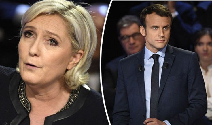 THE two leading presidential candidates have clashed over France's role in the European Union with Emmanuel Macron launching a scathing attack on Marine Le Pen and her father.