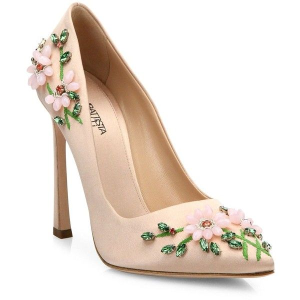 Giambattista Valli Floral-Embroidered Satin Pumps (53.335 RUB) ❤ liked on Polyvore featuring shoes, pumps, heels, sapatos, zapatos, pink, apparel & accessories, pink satin pumps, pink satin shoes and satin pumps
