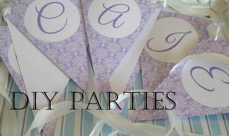 Table bunting - damask - lilac.  Find us on Facebook www.facebook.com/DIYParties