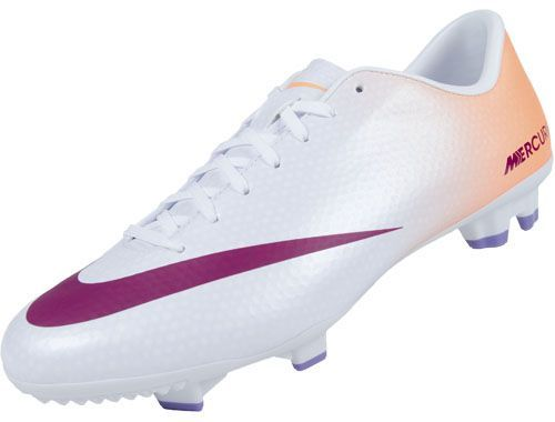 Nike Womens Mercurial Victory IV FG Soccer Cleats - White with Atomic Orange...Available at SoccerPro.