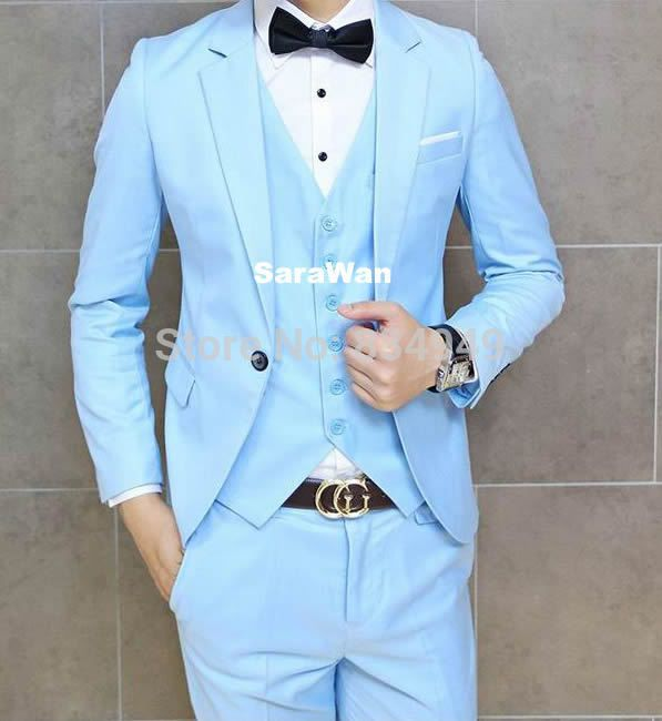 Custom Made Baby Blue Groom Suit Bespoke Tailored Sky Blue Tuxedos For