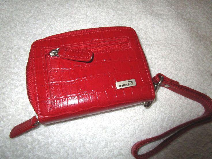 WALLETBE Red croc leather Wristlet ACCORDION wallet CASH COIN CARD WALLET #WalletBe #MiniWallet