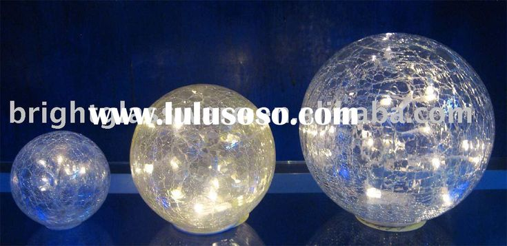 Led Crackle Glass Bowl With String Lights