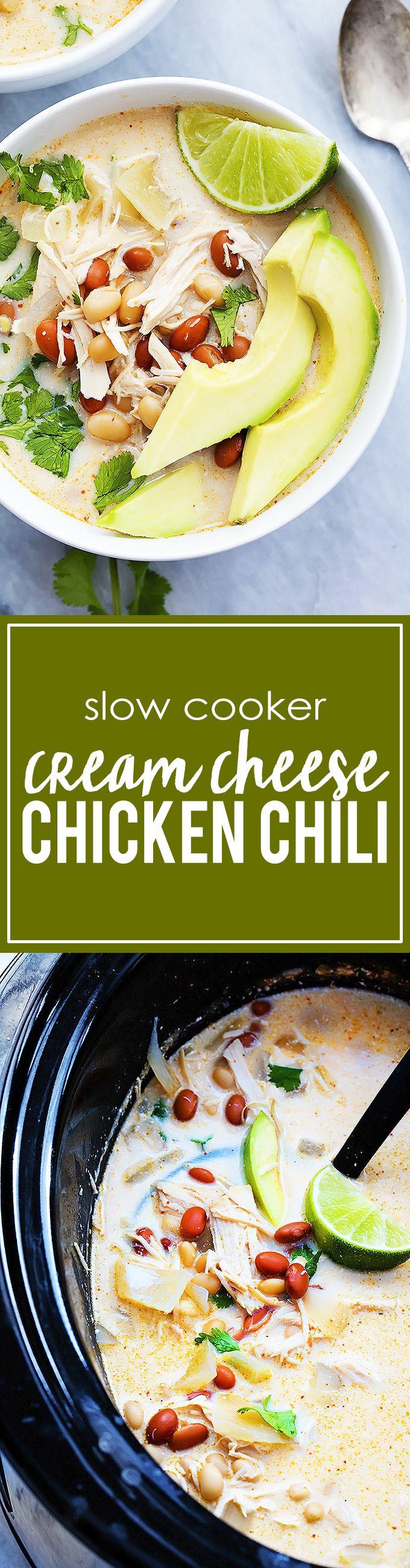 Slow Cooker Cream Cheese Chicken Chili | Creme de la Crumb