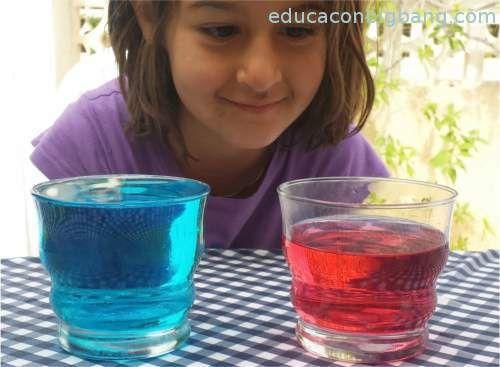 densidad y temperatura con agua caliente y fria