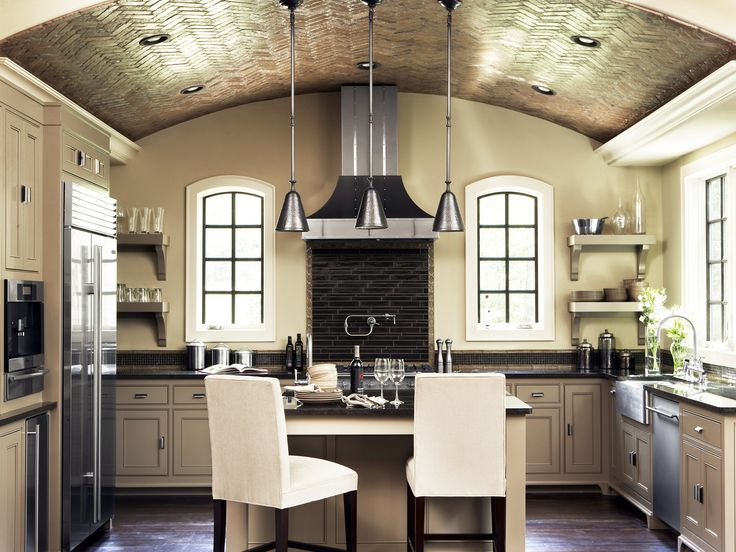 """Now that you've got a head start on kitchen planning, how about some """"pin-spiration?""""  Whether you're just dreaming or actually doing, these designer kitchens are worth a second look!Cabinets, Paris, Ideas, Kitchens Design, Ceilings Design, Bricks, Barrels Ceilings, Modern Kitchens, Vaulted Ceilings"""