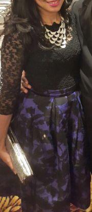 Black lace Black purple flower skirt
