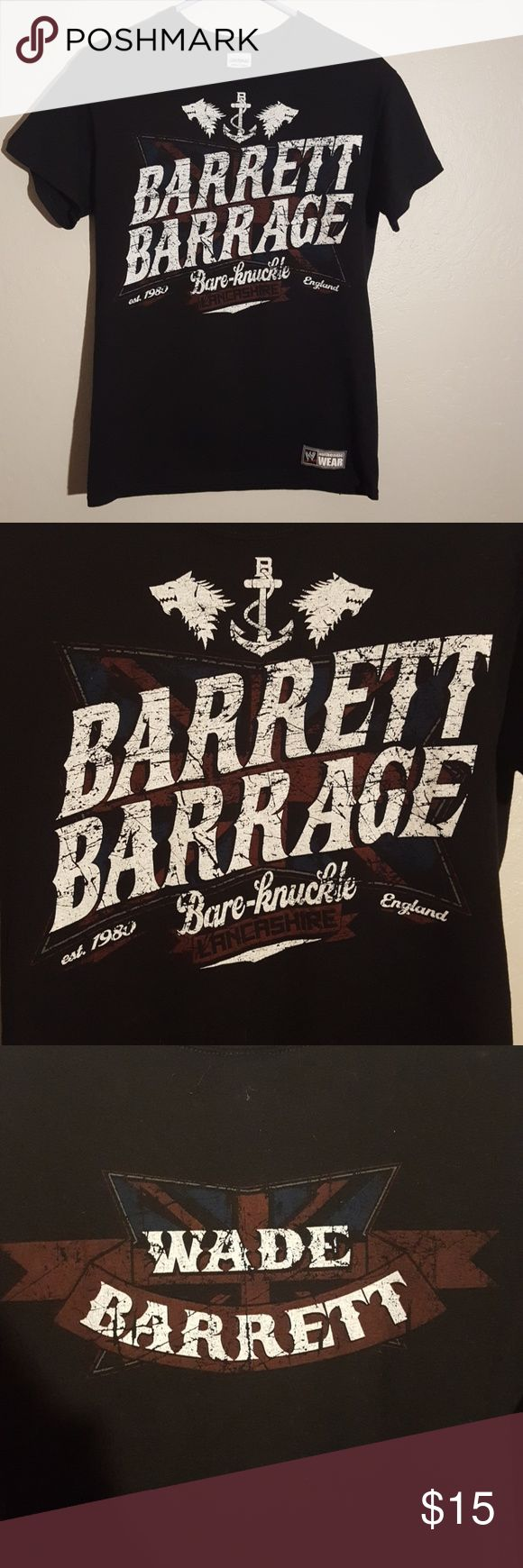 Wade Barrett WWE Shirt Men's small so a women's medium. Union Jack accented behind the logo in dark red and blue. Worn once to my brother's graduation 3 years ago. WWE Tops Tees - Short Sleeve