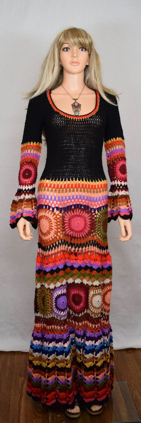 Inspiration only $1320 Vintage 1960's 70's Women's Crocheted Colorful HiPPiE BoHo Woodstock Maxi Dress Size S or M
