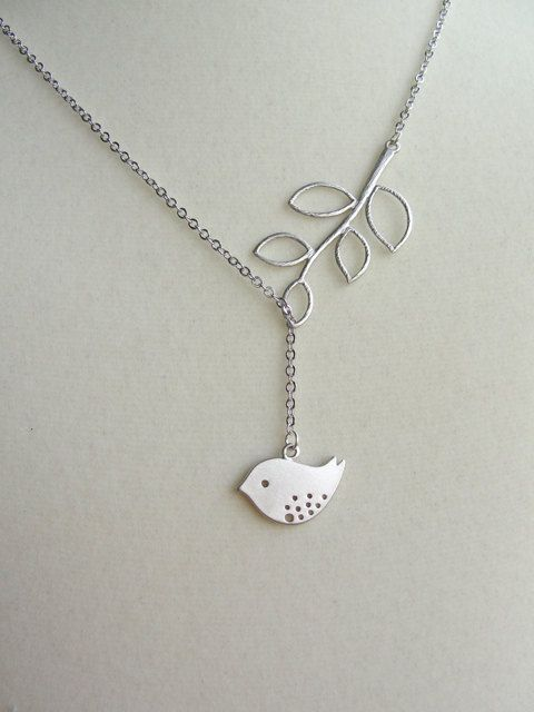 Silver Birdy Dangle Lariat  gift wife mother sister by PiperBlue, $24.00