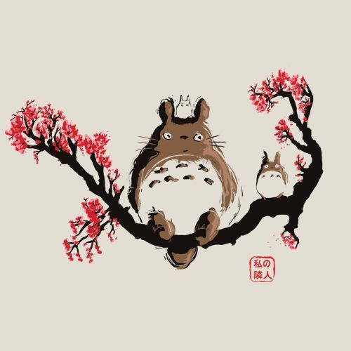 T-shirt totoro, estampe japonnaise,japon, traditionel, manga