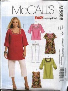 McCall's Sewing Pattern 5896 Womans Plus Size 18W-24W Easy Pullover Tops Dress Pull On Capri Pants