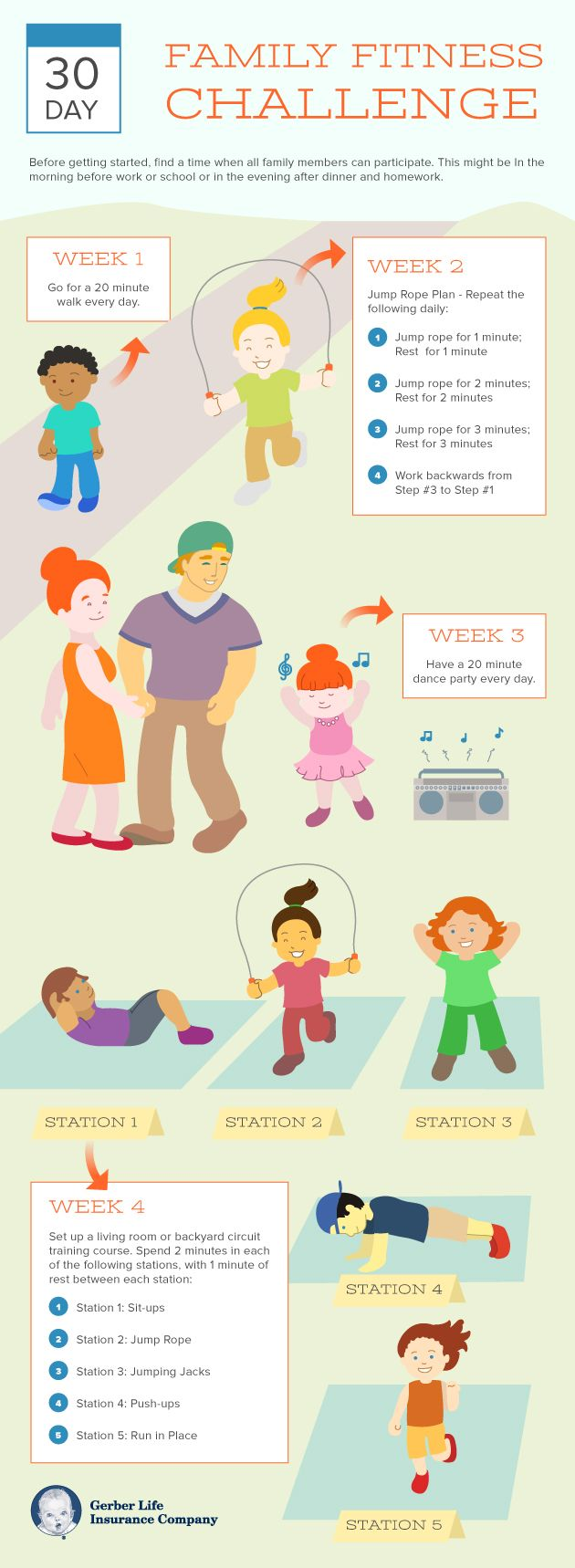 30 Day Family Fitness Challenge Gerber Life Insurance Blog Family Fitness Challenge Kids Fitness Challenge Workout Challenge