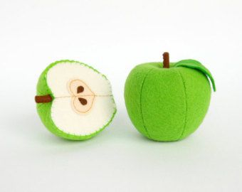 Toy fruits Half apple Felt play food Waldorf toys children's Pretend play Baby toys Organic kids toy Baby gift Toddler gift Plush fruits