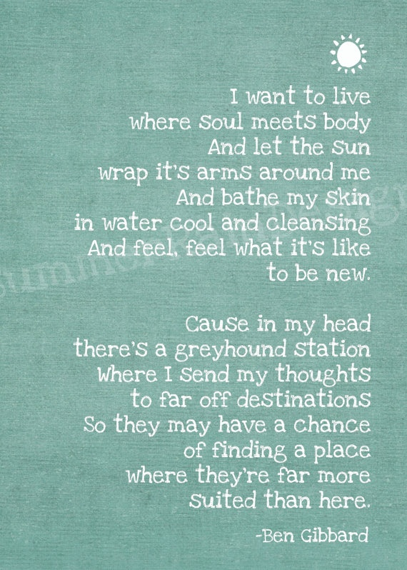 Soul Meets Body: Death Cab for Cutie lyrics second verse best part of the song