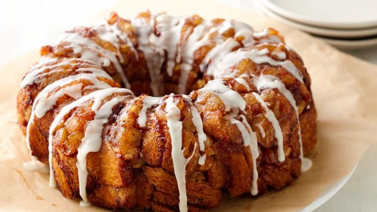 Enjoy this monkey bread made using Pillsbury® Grands!® rolls, apple and flavored with cinnamon - perfect for breakfast.