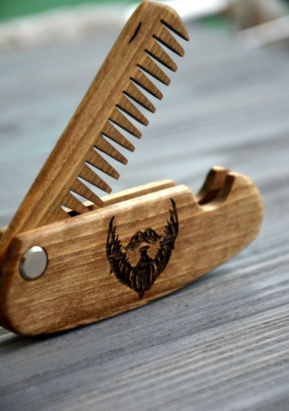 Folding Comb Walnut Beard Personalized Custom Engraved Wooden For Men